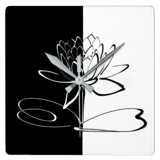 Yin Yang Black White Lotus Blossom Square Wall Clock