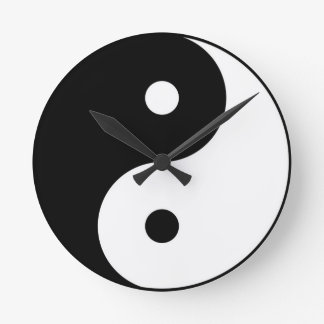 yin yang black white symbol clocks