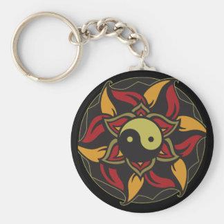 Yin Yang Blooming Lotus Basic Round Button Key Ring