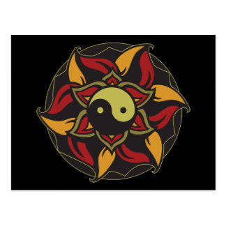 Yin Yang Blooming Lotus Postcard