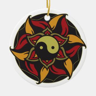 Yin Yang Blooming Lotus Round Ceramic Decoration