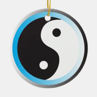 Yin Yang (blue) Round Ceramic Decoration