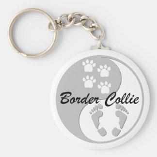 yin yang border collie key ring