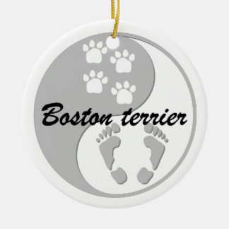yin yang boston terrier Double-Sided ceramic round christmas ornament