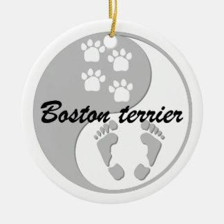 yin yang boston terrier round ceramic decoration