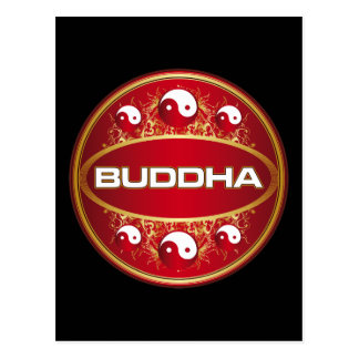 Yin Yang Buddha Round Logo Post Cards