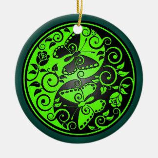 Yin Yang Butterflies, green & black Round Ceramic Decoration