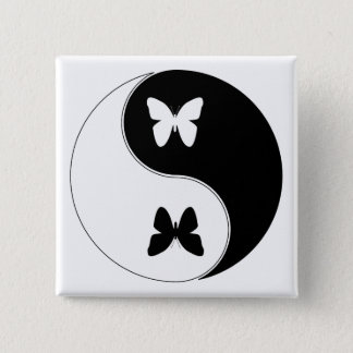 Yin Yang Butterfly 15 Cm Square Badge