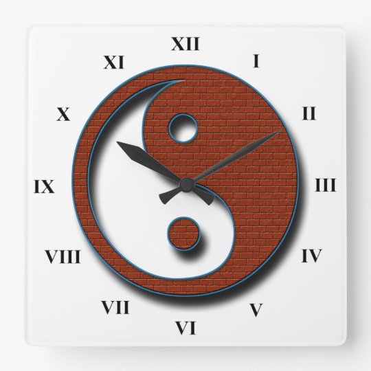 Yin Yang by Shirley Taylor Square Wall Clock