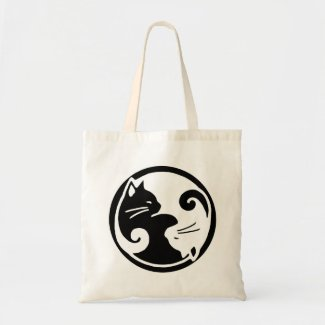 Yin Yang Cat Tote Bag