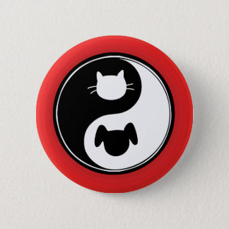 Yin Yang Cat Dog 6 Cm Round Badge