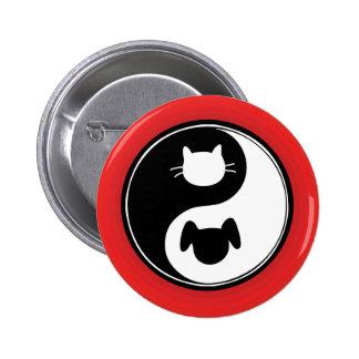 Yin Yang Cat Dog 6 Cm Round Badge