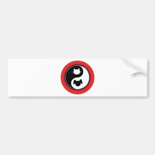 Yin Yang Cat Dog Bumper Sticker