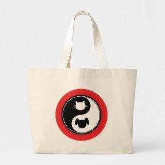 Yin Yang Cat Dog Large Tote Bag
