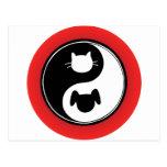 Yin Yang Cat Dog Postcard
