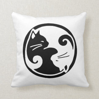 "Yin Yang Cats 16x16"" Throw Pillow"