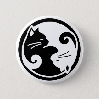 Yin Yang Cats 6 Cm Round Badge