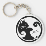 Yin Yang Cats Basic Round Button Key Ring