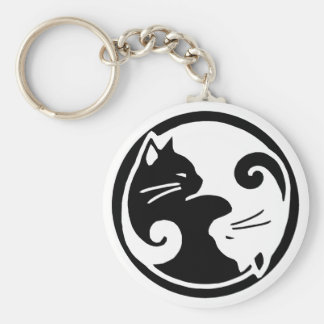 Yin Yang Cats Basic Round Button Key Ring