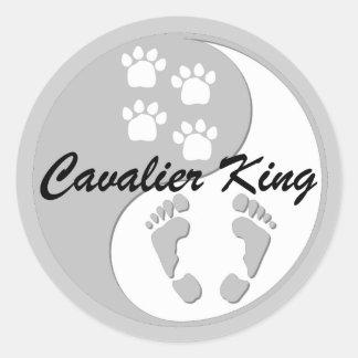 yin yang cavalier king classic round sticker