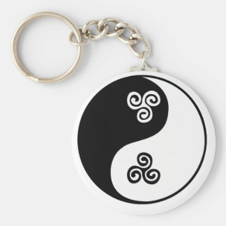 Yin Yang Celtic Tri Spiral Basic Round Button Key Ring