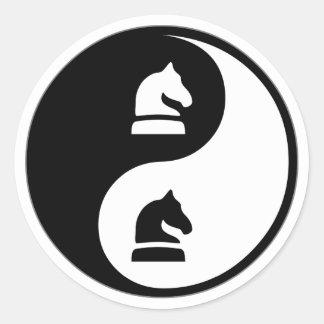 Yin Yang Chess Classic Round Sticker