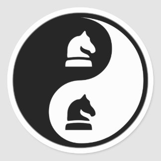 Yin Yang Chess Round Sticker