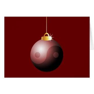 Yin Yang Christmas Ball in Red Card