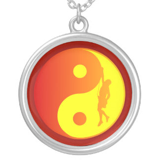 Yin & Yang Climber (Sunburst) Silver Plated Necklace