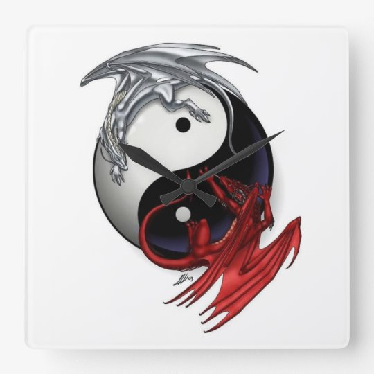 Yin Yang Clock Fire And Ice Dragons Square Wall Clock