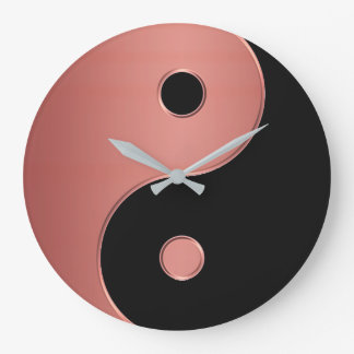 Yin Yang Clock in Copper or Clay and Black