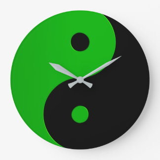 Yin Yang Clock in Kelly Green and Black