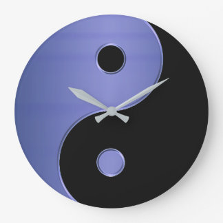Yin Yang Clock in Light Blue  Silver and Black