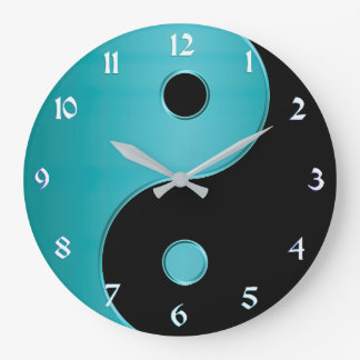 Yin Yang Clock in Turquoise and Black