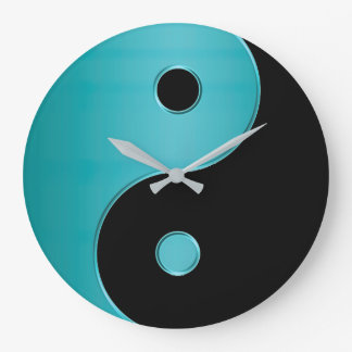 Yin Yang Clock in Turquoise Blue Green and Black