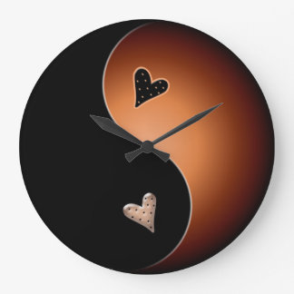 yin yang coffee large clock