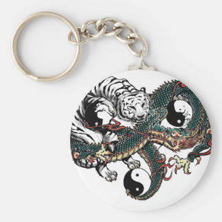 Yin Yang Design Basic Round Button Key Ring