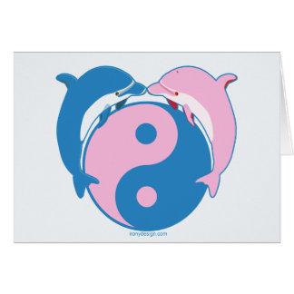 Yin Yang Dolphins Blue/Pink Greeting Card