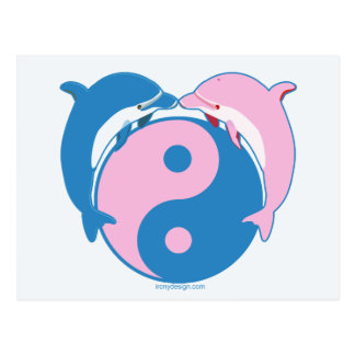Yin Yang Dolphins Blue Pink Postcards