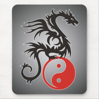 Yin & Yang Dragon | black fadeIN Mouse Mat