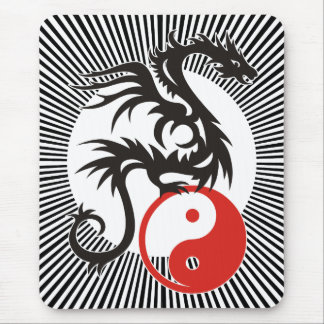Yin & Yang Dragon | black sunny stripes Mouse Mat