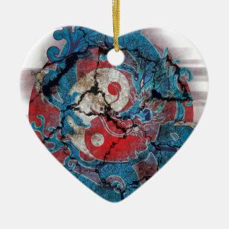 Yin Yang Dragon Life Ceramic Heart Decoration