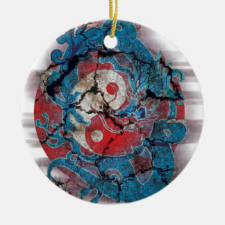 Yin Yang Dragon Life Round Ceramic Decoration