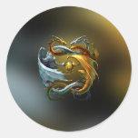 Yin Yang Dragon Round Sticker