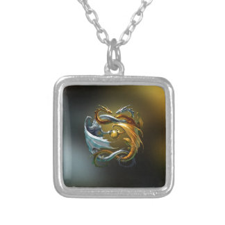Yin Yang Dragon Silver Plated Necklace