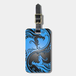 Yin Yang Dragons, blue and black Bag Tag