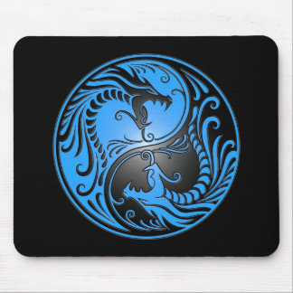 Yin Yang Dragons, blue and black Mouse Mat
