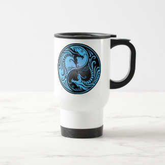 Yin Yang Dragons blue and black Coffee Mugs