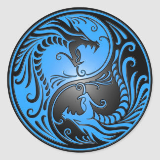 Yin Yang Dragons, blue and black Round Sticker