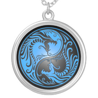 Yin Yang Dragons, blue and black Silver Plated Necklace